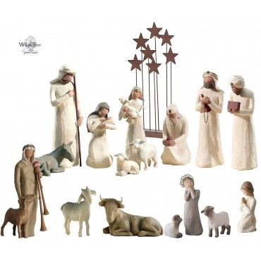 CRÈCHE WILLOW TREE (16 figurines + étoiles)