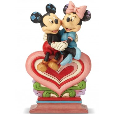 MICKEY ET MINNIE ASSIS SUR LE CŒUR DISNEY TRADITIONS