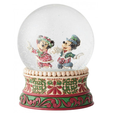 SNOWGLOBE MICKEY ET MINNIE SUR PATINS A GLACE DISNEY TRADITIONS